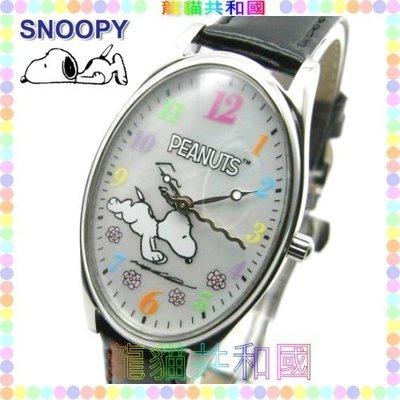 ※龍貓共和國※世界限定100只《日本正版SNOOPY史努比史奴比 糊塗塔克 查理布朗 彩色文字盤 皮革手錶腕錶C黑》禮物
