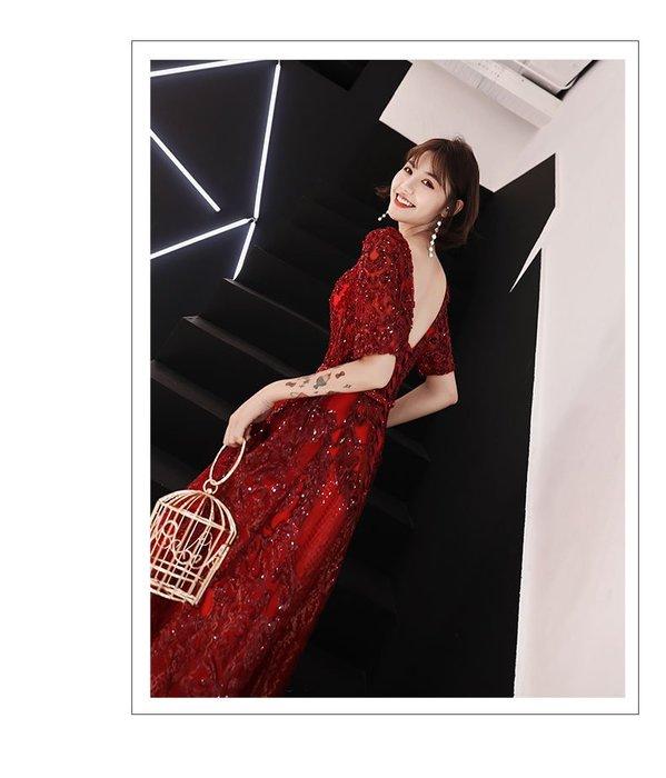 大小姐時尚精品屋~~敬酒服長款新娘结婚新款氣質红色訂婚宴會晚禮服春季款~~3件免運