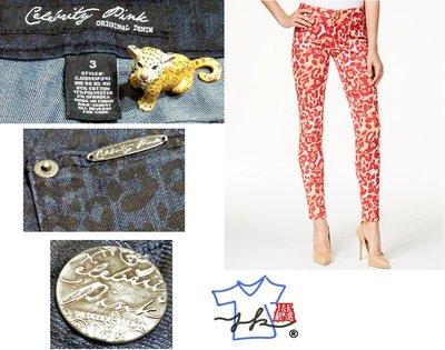 修身牛仔褲 美國 Celebrity Pink Jeans  顯瘦蟒蛇紋-女款- 3號-深藍【J&K嚴選】太陽的後裔