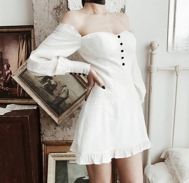 【黑店】訂製款女神款法式浪漫露肩洋裝 胸墊顯身材荷葉拼接洋裝 白色仙氣宮廷風合身洋裝 性感露肩合身洋裝VK121