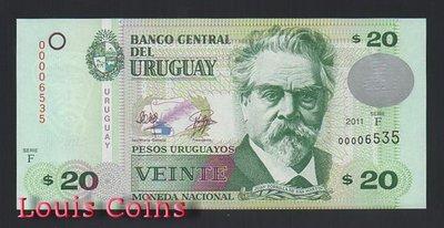 【Louis Coins】B515-URUGUAY--2011烏拉圭塑紙鈔20 Pesos Uruguayos