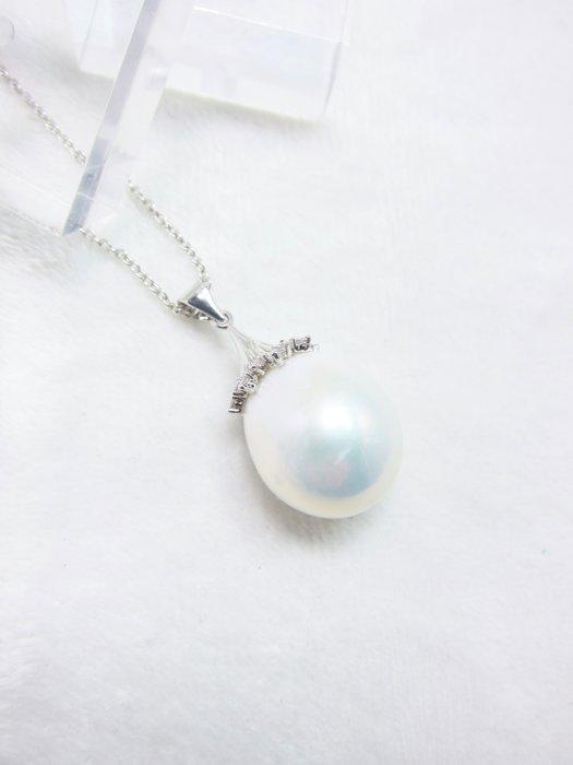 16mm豪華尺寸白珍珠墜子【元圓珠寶】