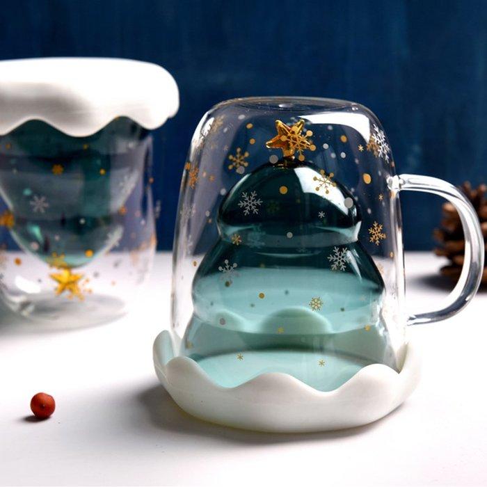 聖誕樹雙層隔熱玻璃杯 抖音網紅星願聖誕樹玻璃杯 星願杯水杯馬克杯咖啡杯牛奶杯茶水杯隔熱杯子 聖誕禮物交換禮物生日禮物