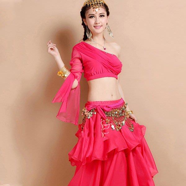 5Cgo【鴿樓】會員有優惠 19295942864 印度風單肩水鑽上衣蛋糕裙肚皮舞套裝印度服飾 尾牙演出服套裝印度舞裙