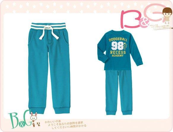【B& G童裝】正品美國進口GYMBOREE 藍色內軟刷毛運動長褲7,12號6-7,9-10yrs