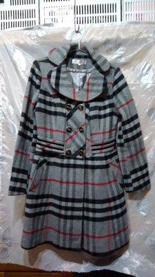 經典格紋羊毛大衣,保暖外套