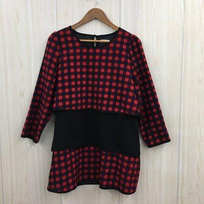 【愛莎&嵐】GO GO MISS 女 紅黑格紋長袖洋裝 1080313