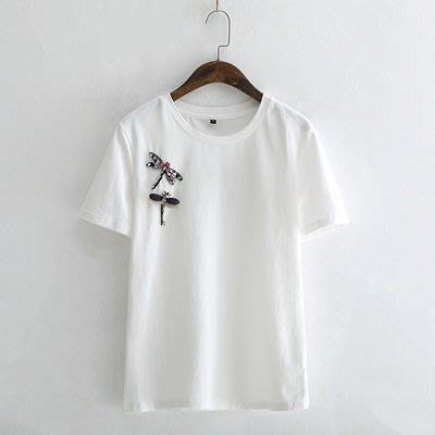 短袖 T恤 純色上衣-時尚休閒亮鑽蜻蜓女打底衫73sy41[獨家進口][米蘭精品]