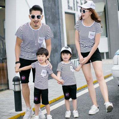 親子裝  情侶裝 一家三口四口家庭裝 套裝 沙灘裝 兒童t恤上衣—莎芭