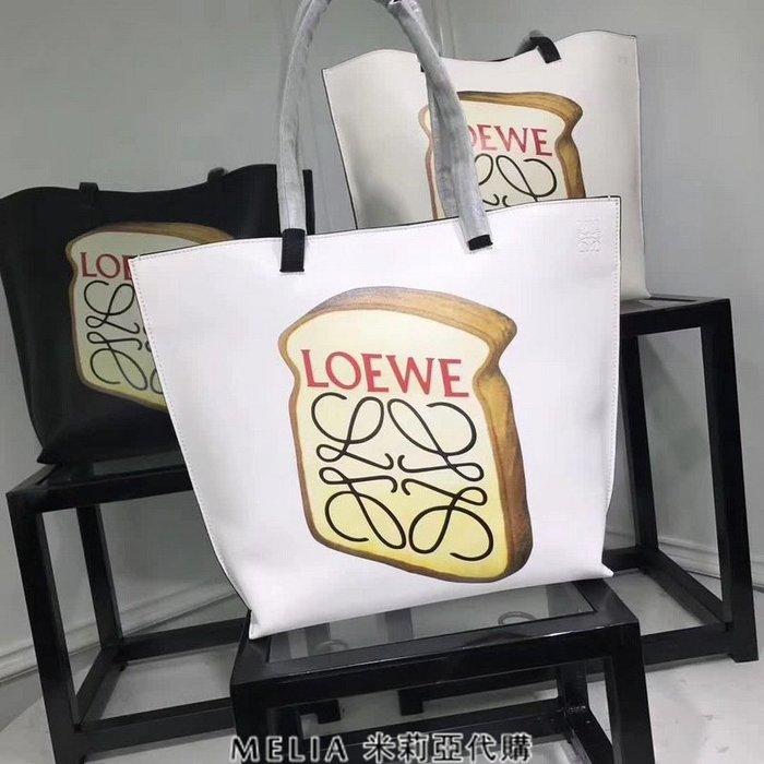 Melia 米莉亞代購 專售正品 2018ss 羅意威 LOEWE 單肩包 購物包 手提包 手提袋 吐司logo 白色