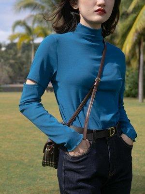 lulu醬服飾舘~你好卡農 半高領t恤女2021年新款個性切口長袖套頭上衣百搭打底衫