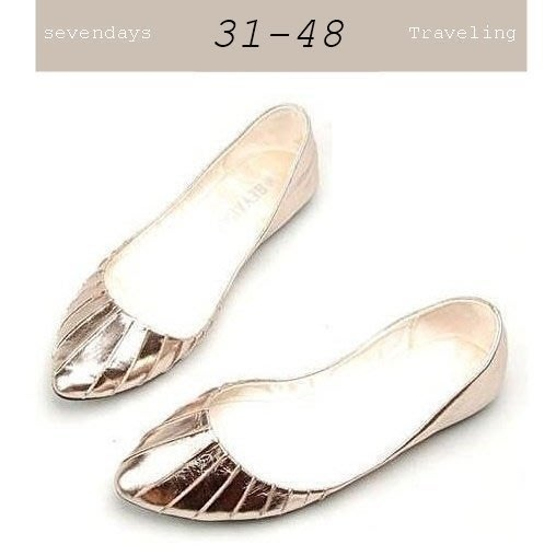 大尺碼女鞋小尺碼女鞋歐美抓皺尖頭素面舒適娃娃鞋銀色平底鞋休閒鞋包鞋(31-48)現貨#七日旅行