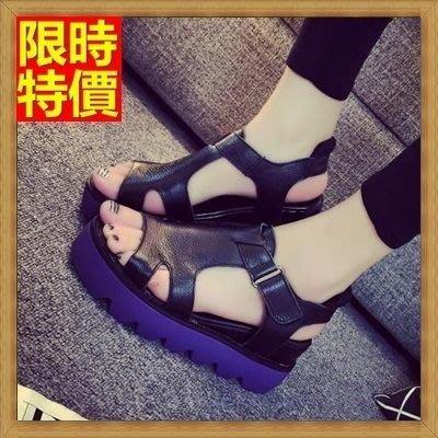 涼鞋 厚底坡跟涼鞋 楔型涼鞋-街頭時尚正韓流行真皮女鞋子4色69w19[獨家進口][米蘭精品]