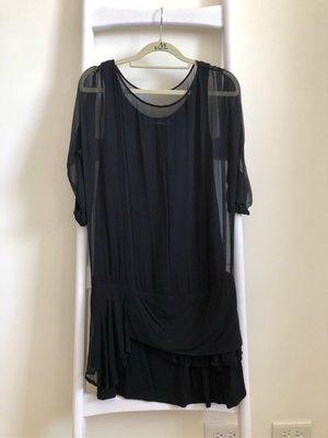 MOMA,S,黑色背心微透紗長上衣