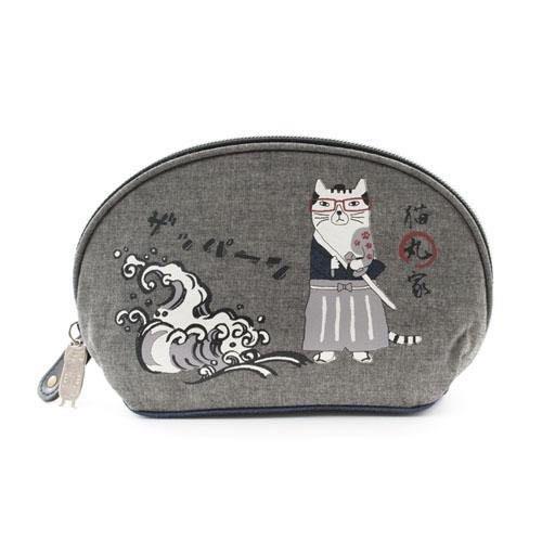 Verna&Co{現貨}日本進口雜貨貓丸家日本武士貓咪貝型化妝包收納包品牌