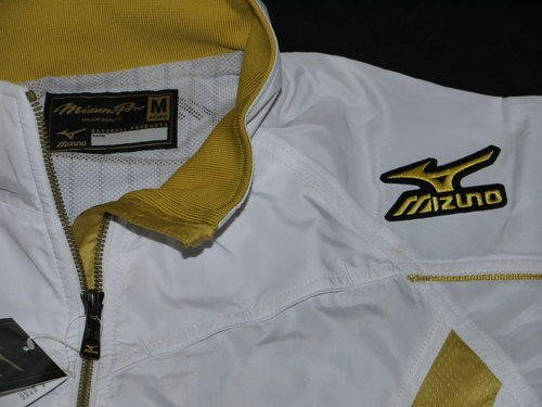 貳拾肆棒球---受注生產!日本Mizuno pro 日職契約選手用運動套裝外套白M