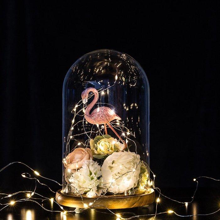 北歐風家居裝飾房間的小飾品發光玻璃罩創意結婚禮物擺件擺設 民宿 餐廳 櫥窗 客廳擺飾 家居禮物 迷你擺件 背景拍攝