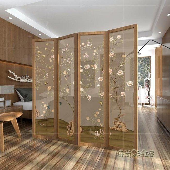 新中式屏風隔斷客廳時尚玄關辦公室簡約現代臥室古典折疊折屏移動MBS