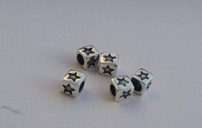 國際標準925純銀串珠材料~立體星星方塊純銀墜子。水晶森林手創館925純銀材料批發賣場