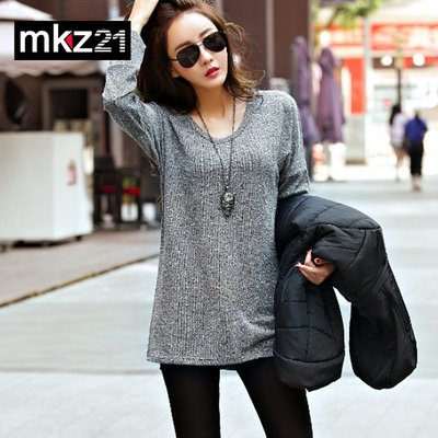 =EZZ=3112韓國首爾時尚精品東大門同步 蒙麗韓版寬鬆長袖中長款針織裙大碼連衣裙T恤 S碼~2XL碼
