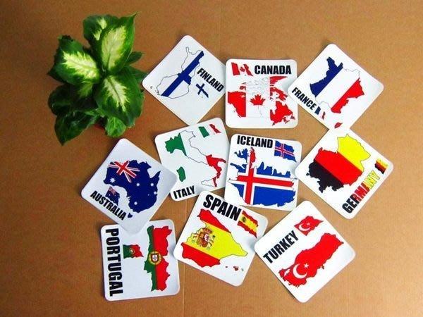 【衝浪小胖】正方形各國旗領土防水、抗UV登機箱貼紙/各國家、多尺寸都有賣和客製