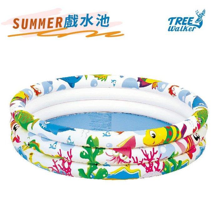 【Treewalker露遊】SUMMER戲水池 107x25cm 三層充氣游泳池 兒童泳池 遊戲池 球池 圓形泳池
