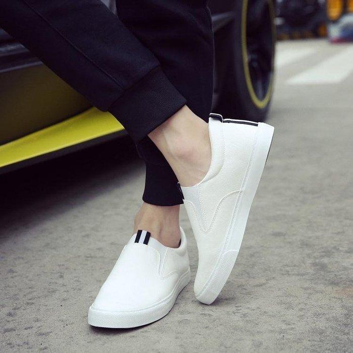 ☜男神閣☞懶人鞋 小白鞋一腳蹬皮鞋英倫白色男士休閒鞋豆豆鞋鞋青年社會小伙鞋