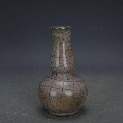 ㊣姥姥的寶藏㊣ 宋代哥窯手工金絲鐵線葫蘆瓶  古瓷器古玩古董收藏博古架擺件