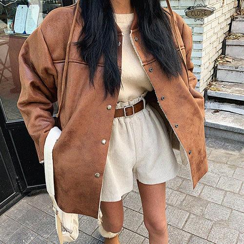 i-Mini 正韓|個性麂皮羊毛內裡釘釦寬鬆外套|2色‧ 韓國連線‧代購‧空運【11195356LA】