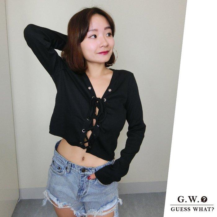 GW 黑色長袖胸前摟空綁帶短版上衣 歐美性感 AA風 F尺寸 GUESSWHAT