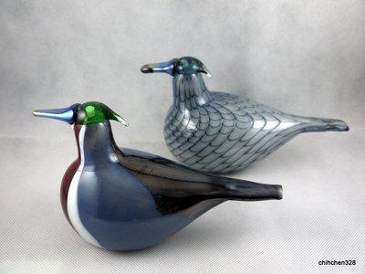 芬蘭Toikka大師全新盒裝Iittala 手工玻璃鳥2013 Wood Ducks 北美鴛鴦 全球限量200對