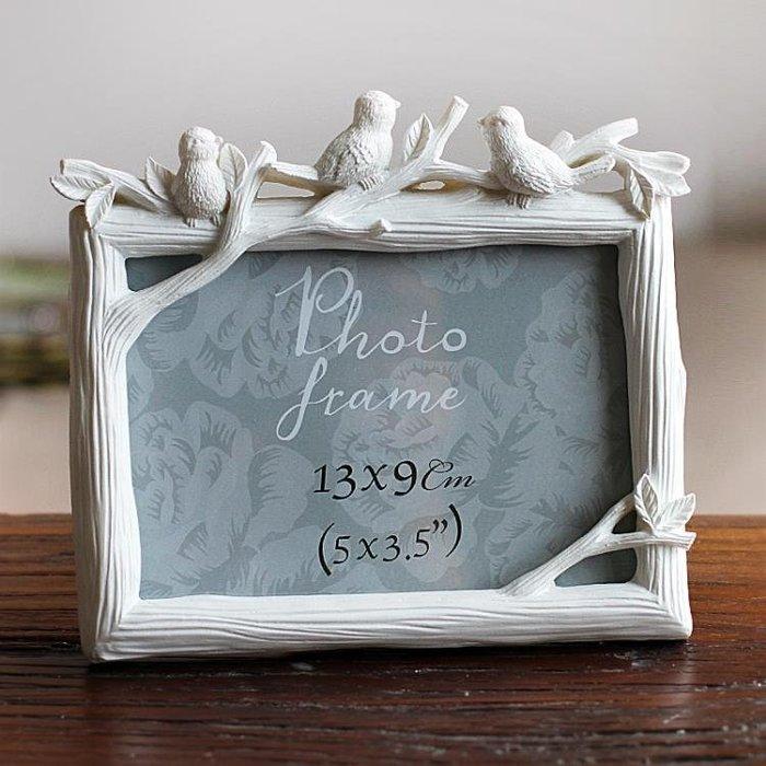 5寸6寸7寸8寸三只鳥樹脂相框創意照片框小鳥擺台彩繪家居飾品