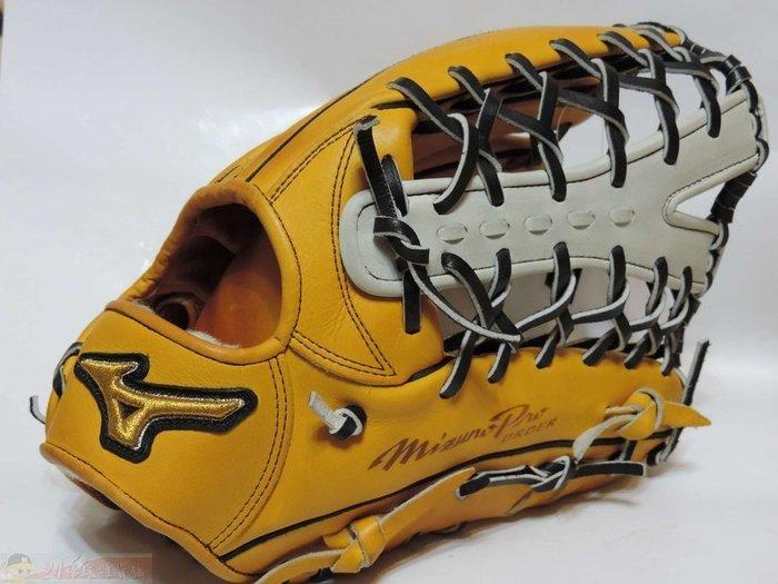 貳拾肆棒球-Mizuno pro 日本職棒讀賣巨人高橋由伸特別訂作硬式外野手套展示品