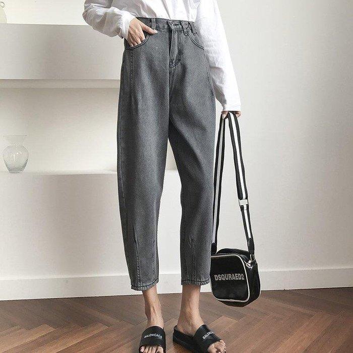 歐拉部落 蘿蔔褲 S XL 寬鬆舒適自然風格 OVERSIZE 煙灰色哈倫牛仔褲 日系潮新款 女生 顯瘦百搭LDB68