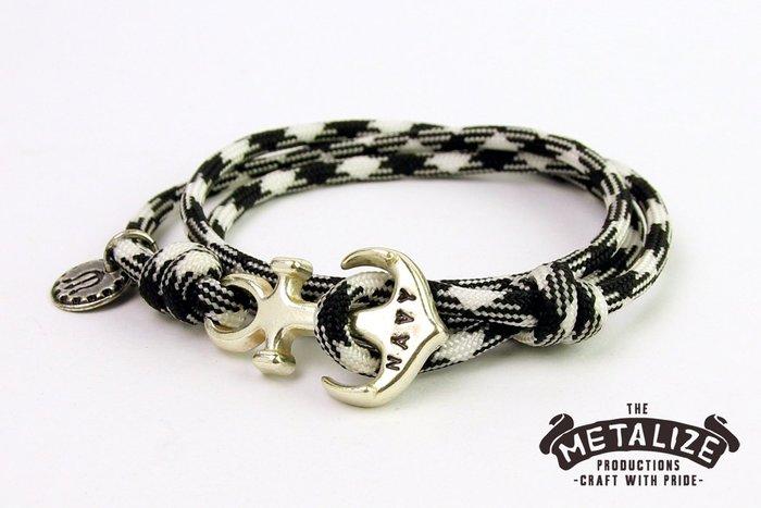 【METALIZE直營網路賣場】Anchor with rope bracel三圈式傘繩手鍊-海錨款-黑白迷彩(古銀色)