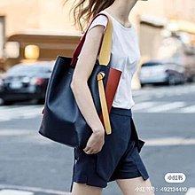 《當肯二手名品》Celine 象灰 米白 深藍 棕色 多拼色 撞色 肩背包 手提包 Twisted Cabas ㊣