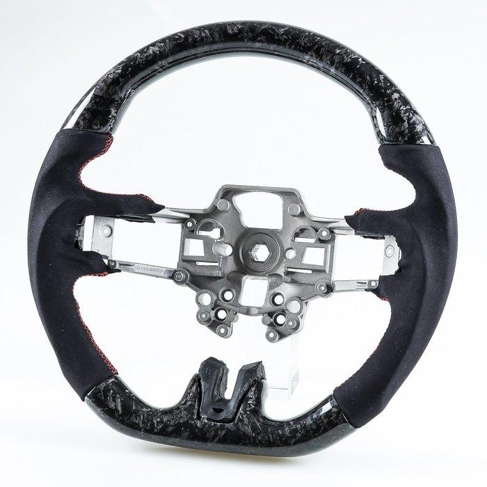 [鍛造碳纖維+麂皮] 方向盤 福特野馬Ford Mustang 2019-2020年適用 /紅線 鋁鎂合金