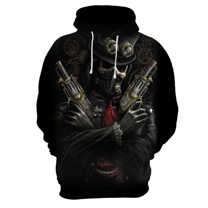 『潮范』  N4 外貿新款3D數碼印花衛衣 長袖T恤 骷髏圖案T恤 棉質連帽外套 連帽T恤