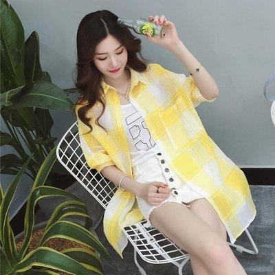 ZIHOPE 格子防曬衣女2019春夏裝韓版中長款寬鬆棉麻襯衫百搭開衫薄款外套ZI812