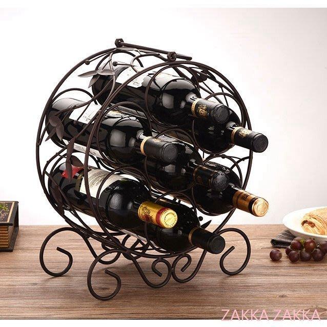 鐵藝酒架 酒瓶架 深咖啡色7瓶裝 歐式復古多瓶裝紅酒架 葡萄酒架 電視柜酒柜吧台裝飾佈置 客廳餐廳居家擺飾♡幸福底家♡