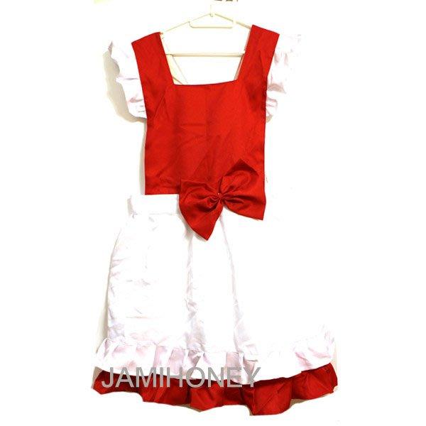 紅白雙色小红帽圍裙 成人圍裙 氣質女僕【JI2297】《Jami Honey》