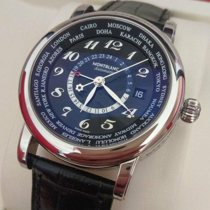 臺灣AD盒單齊 萬寶龍 star 世界時區 GMT 自動上鍊機械男錶 montblanc