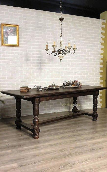【卡卡頌  歐洲古董】 🍒法國古董老件~老橡木 實木雕刻 220cm 長餐桌 工作桌  t0205 ✬