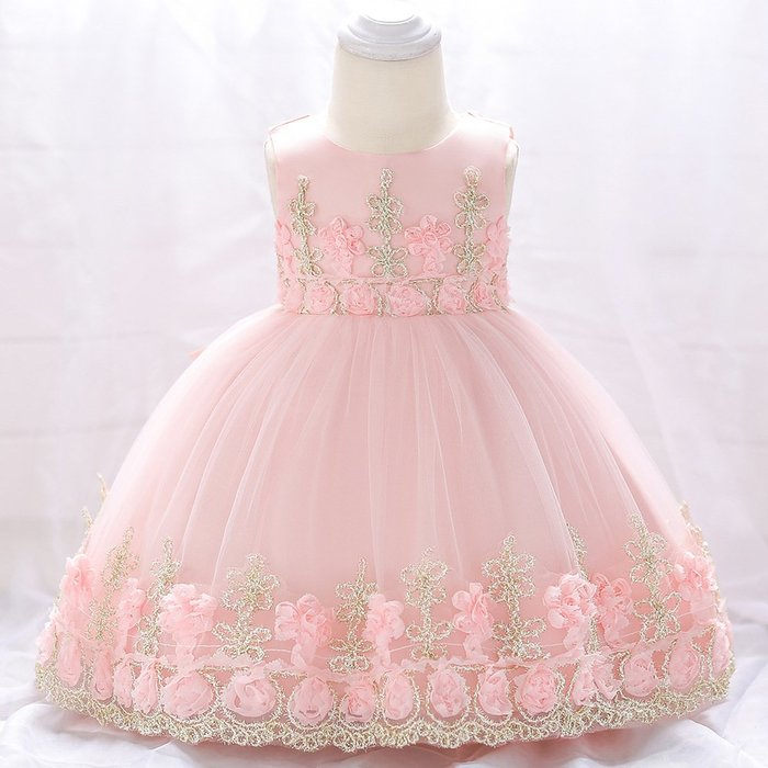 現貨 金繡線花朵滿月嬰幼禮服