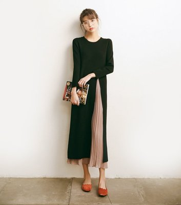 針織長洋裝連身裙針織雪紡長裙假兩件 可搭平底鞋圍巾彈性大孕婦可穿