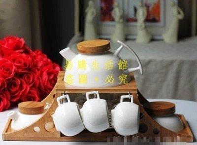 [王哥廠家直销]創意站 玉冰花瓷 提梁壺茶具7件套 居家廚衛 結婚禮品物 迎新茶特價LeGou_2574_2574