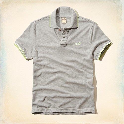 美國百分百【全新真品】Hollister Co. Polo衫 HCO 短袖 海鷗 素面 網眼 滾邊 復古 灰色 G414