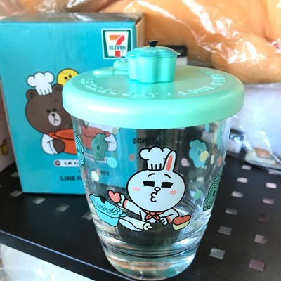 全新 7-Eleven 7-11 Line Friends Brown Cony 綠色 連蓋玻璃杯 現貨 (可旺角門市自取)