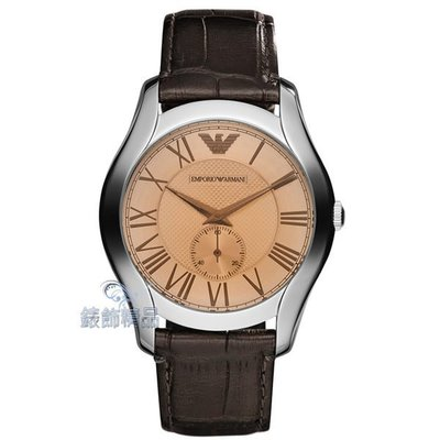 【錶飾精品】ARMANI手錶 AR1704 亞曼尼 經典時尚 薄型 小秒針咖啡皮帶男錶 全新原廠正品