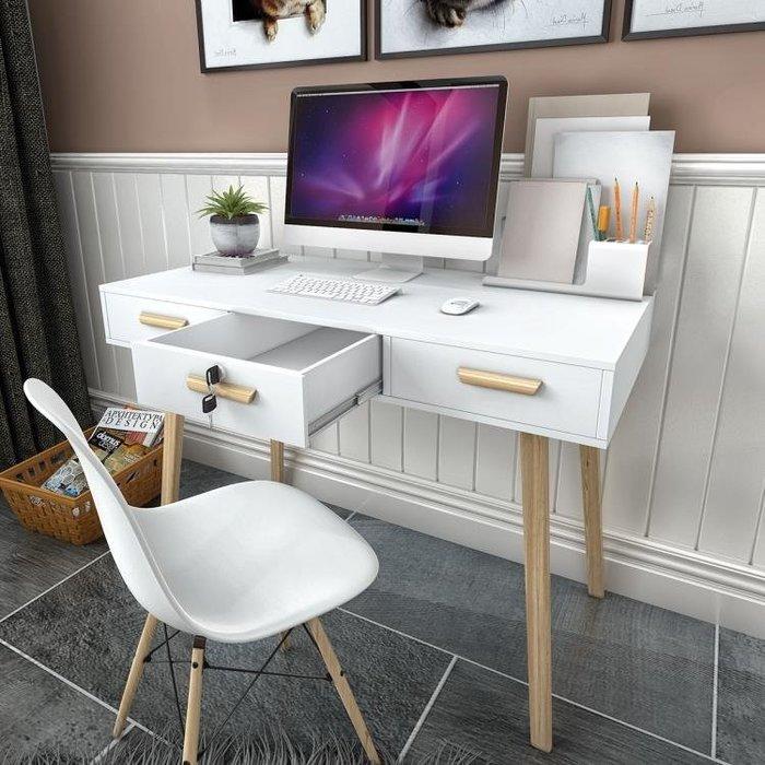 北歐電腦桌台式書桌家用簡約現代易抽屜鎖寫字台小桌子筆記本家具FA